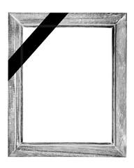 schwarz-weiss rahmen mit trauerflor incl. clipping path