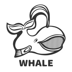 Whale smiling funny icon.