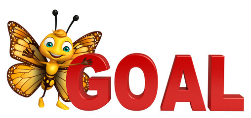 fun Butterfly cartoon character with goal sign