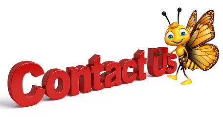 Butterfly cartoon character with contact us sign