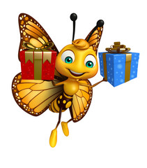 fun Butterfly cartoon character with giftbox