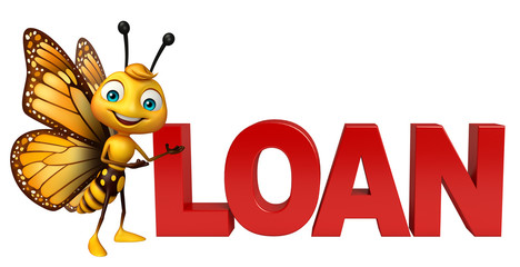 fun Butterfly cartoon character with loan sign
