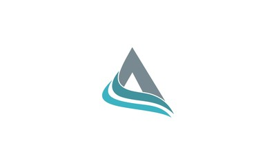 triangle as symbol of letter A and swoosh as symbol of letter C. logo vector
