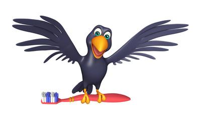 fun Crow cartoon character with tooth brush