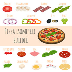 Vector set of isometric food icons. Ingredients for pizza.