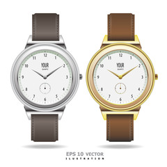 Watch gold and silver design vector illustration.