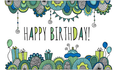 Happy Birthday With Hand Drawn Border Vector Blue and Green