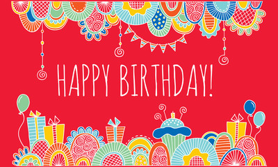 Happy Birthday With Hand Drawn Border Vector with Red Background