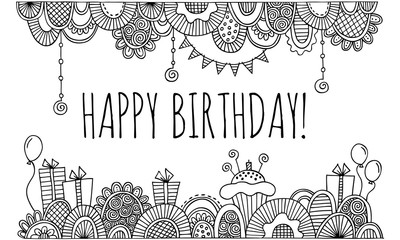Happy Birthday With Hand Drawn Border Vector Black and White