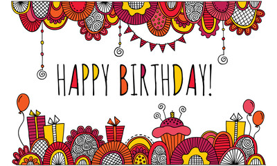 Happy Birthday With Hand Drawn Border Vector Bright Colours