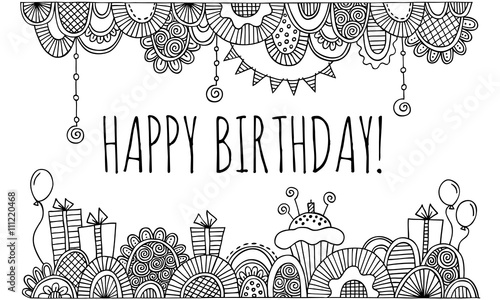 Happy Birthday With Hand Drawn Border Vector Black And White Stock Image And Royalty Free