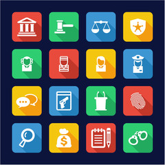 Courthouse Trial Icons Flat Design