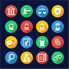 Courthouse Trial Icons Flat Design Circle