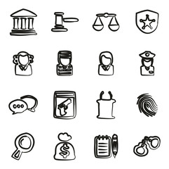 Courthouse Trial Icons Freehand
