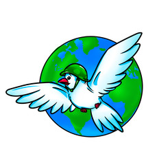 Dove world planet globe cartoon illustration