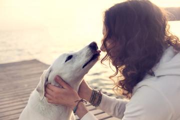 His owner dog licks gently, loving gesture