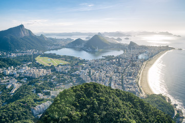 The scenic view of Ipanema Beach and Lagoa as viewed from the top of Dois Irmaos Two Brothers Mountain in Rio de Janeiro, Brazil