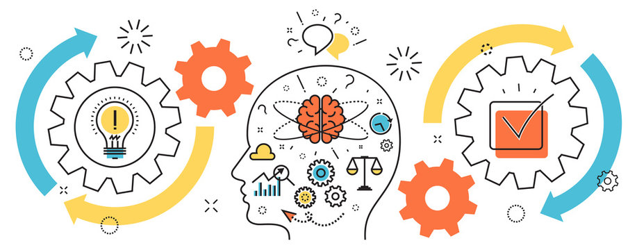 Flat line illustration of born business project startup thought process mechanism  into man brain and head from idea to success for website banner and landing page, infographics, logo and icon
