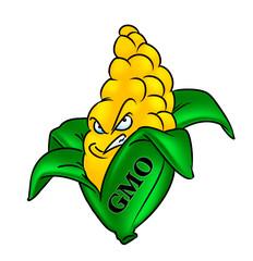 GMO corn cartoon illustration isolated image character