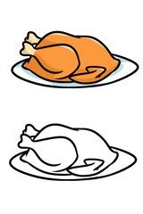 Grilled chicken cartoon illustration  contour illustration