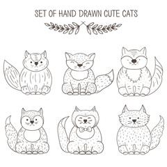 Vector set of cats, hand drawing