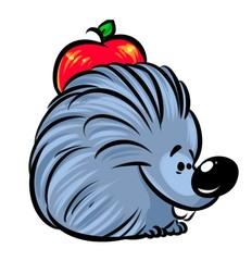 Hedgehog  apple cartoon illustration   image character  animal
