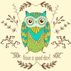 Funny cartoon owl, vector illustration hand drawing.