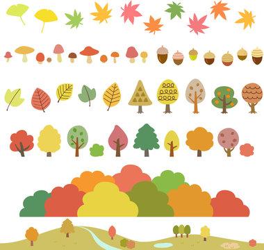 秋の木々、葉、キノコ、どんぐりのイラストセット