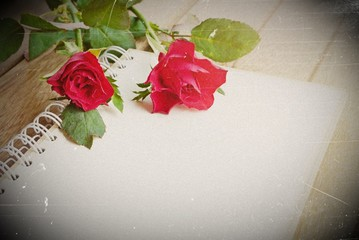 red roses flower and open notebook for text on wooden background, soft vintage tone