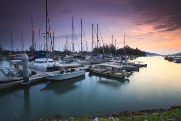 Beautiful composition view of Malaysian Harbour with a yatch dur