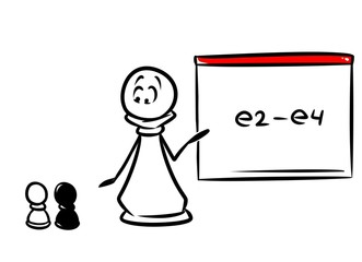 Chess pawn teacher E2 E4 cartoon  doodle contour illustration