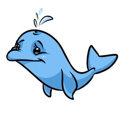 Blue Dolphin cartoon illustration isolated image character