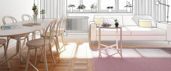 Praktische Wohnungseinrichtung im Entwurf (panoramisch)