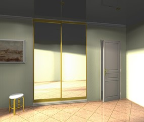 wardrobe with mirrored sliding doors 3D rendering