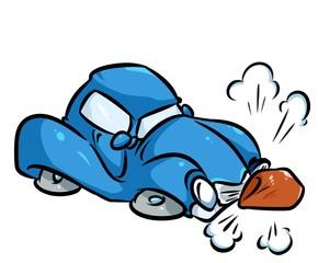Blue car accident hit  stone cartoon illustration