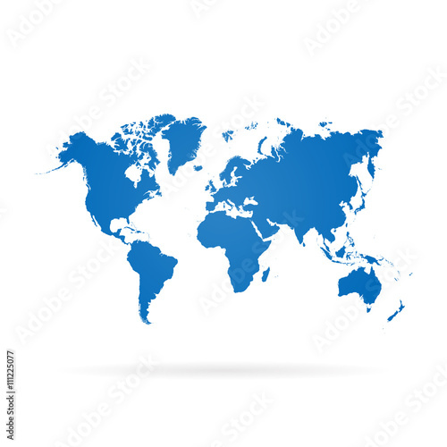 Flat World Map Vector.Blue Similar World Map World Map Blank World Map Vector World Map