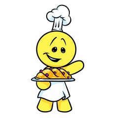 Smiley character cook baking cartoon illustration isolated image