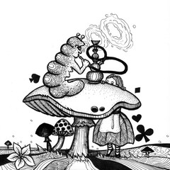 the alice in wonderland story hand drawn outline with texture isolated on the white background