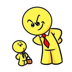 Smiley character excellence  business work cartoon illustration isolated image