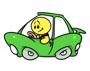 Smiley character green car driver cartoon illustration  image