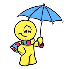 Smiley character umbrella cartoon illustration