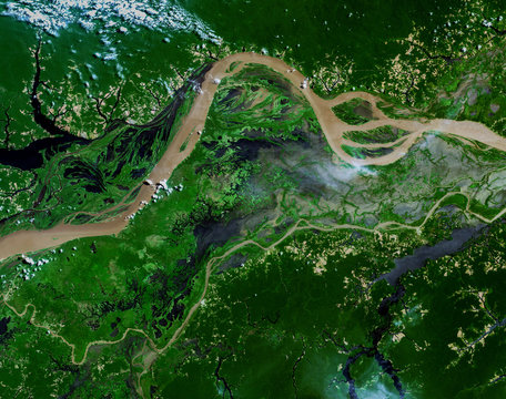 Amazon river from Landsat satellite. Elements of this image furnished by NASA.