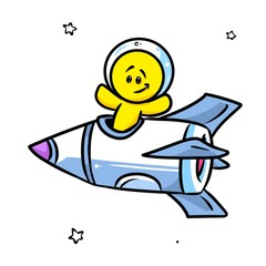 Smiley character astronaut rocket cartoon illustration isolated image