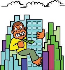 Gorilla Businessman Climbing Building Cartoon Illustration