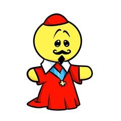Smiley character  Cardinal Richelieu cartoon illustration isolated image