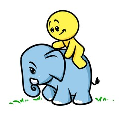 Smiley character  elephant cartoon illustration  image