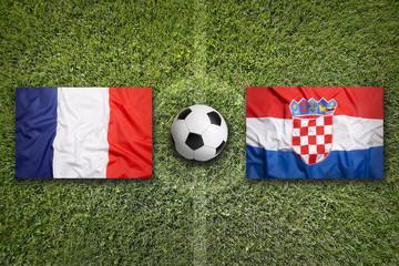 France vs. Croatia flags on soccer field