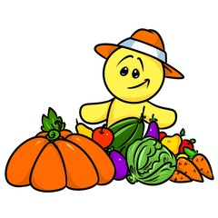 Smiley character fruit  vegetables harvest cartoon illustration isolated image
