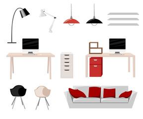 Working Place Modern Office Interior Flat Design Vector Illustration Computer desk workplace concept Workplace concept. Modern home office