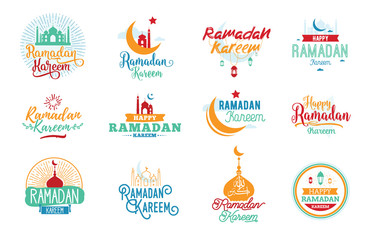 Ramadan kareem. Vector typographic design set.